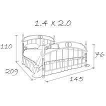 Кровать кованая Лацио 1.4 / 2 спинки, фото 10