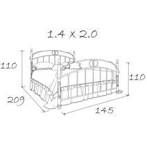 Кровать кованая Сандра 1.4 / 2 спинки, фото 10