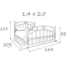 Кровать кованая Симона 1.4 / 2 спинки, фото 9