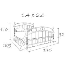 Кровать кованая Флоренция 1.4 / 2 спинки, фото 9