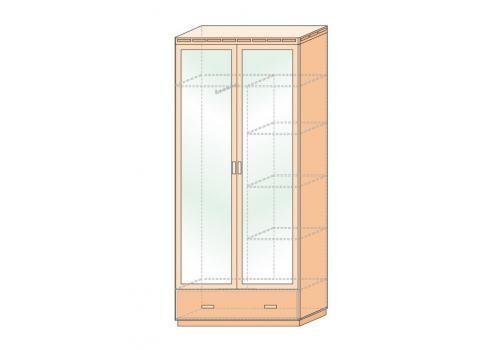 Кэри Голд Шкаф 2-х дверный с зеркалом /гл 390, фото 4