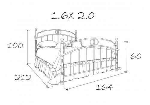 Кровать кованая Атланта 1.6, фото 5